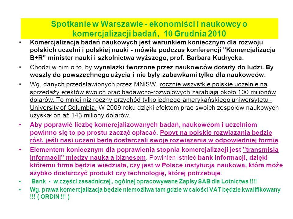 Spotkanie w Warszawie - ekonomiści i naukowcy o komercjalizacji badań, 10 Grudnia 2010