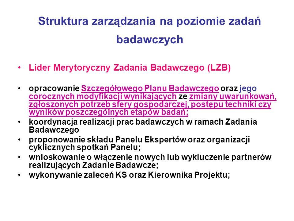 Struktura zarządzania na poziomie zadań badawczych