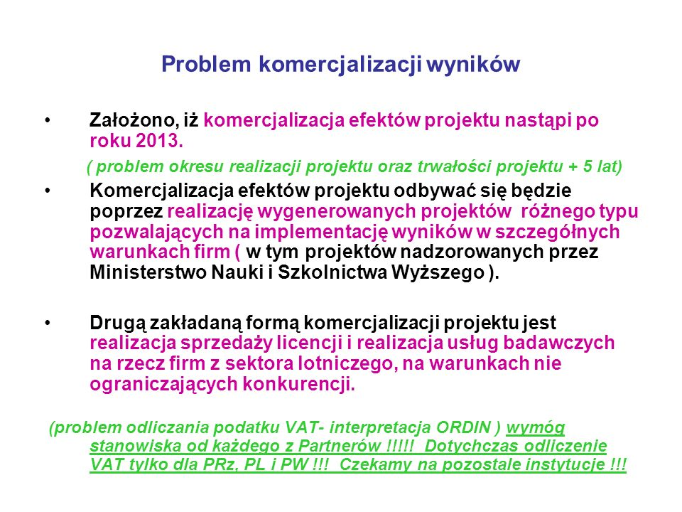 Problem komercjalizacji wyników