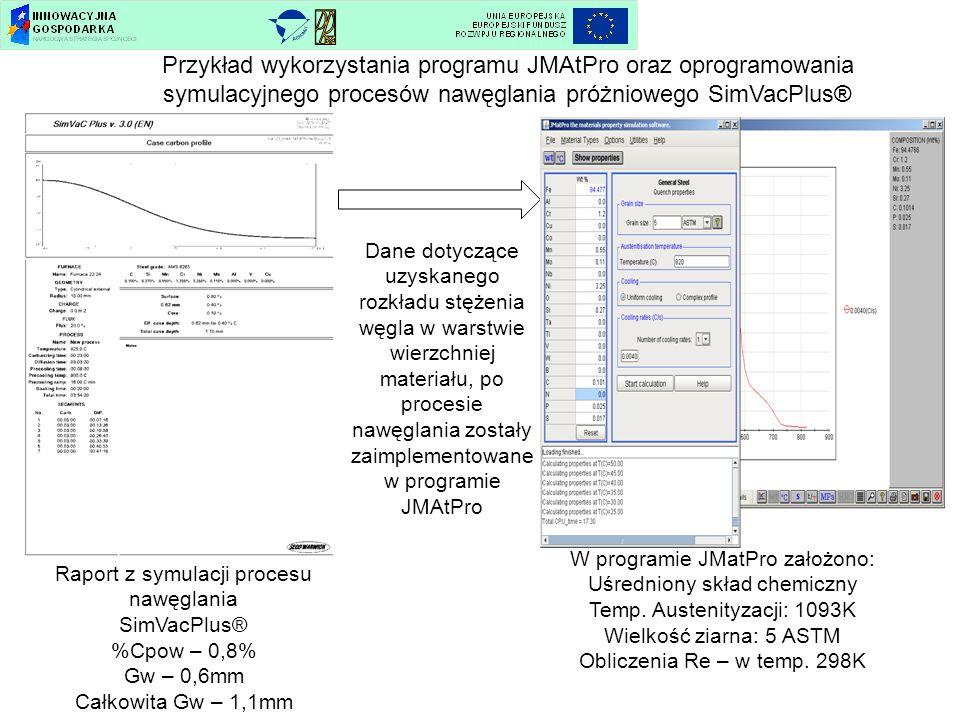 Przykład wykorzystania programu JMAtPro oraz oprogramowania symulacyjnego procesów nawęglania próżniowego SimVacPlus®
