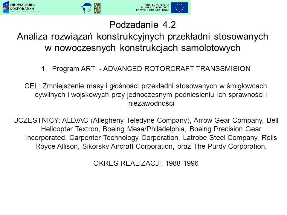 Program ART - ADVANCED ROTORCRAFT TRANSSMISION