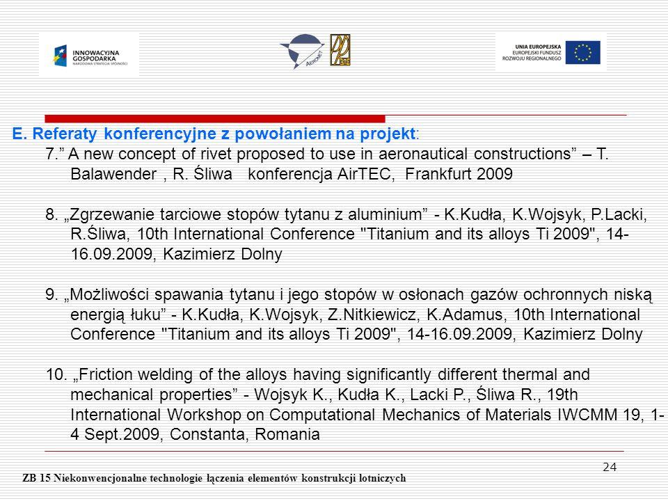 E. Referaty konferencyjne z powołaniem na projekt: