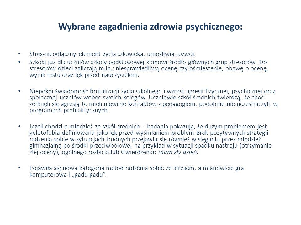Wybrane zagadnienia zdrowia psychicznego: