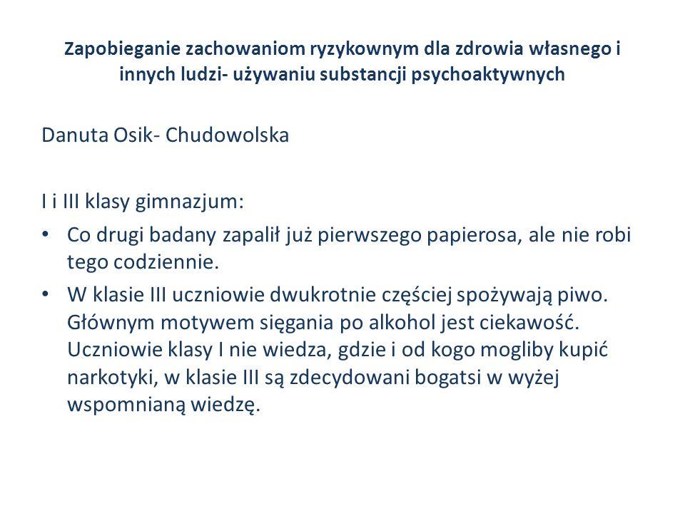 Danuta Osik- Chudowolska I i III klasy gimnazjum: