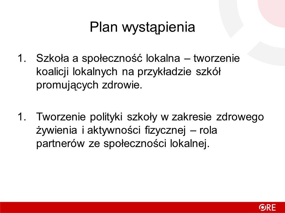 Plan wystąpienia Szkoła a społeczność lokalna – tworzenie koalicji lokalnych na przykładzie szkół promujących zdrowie.