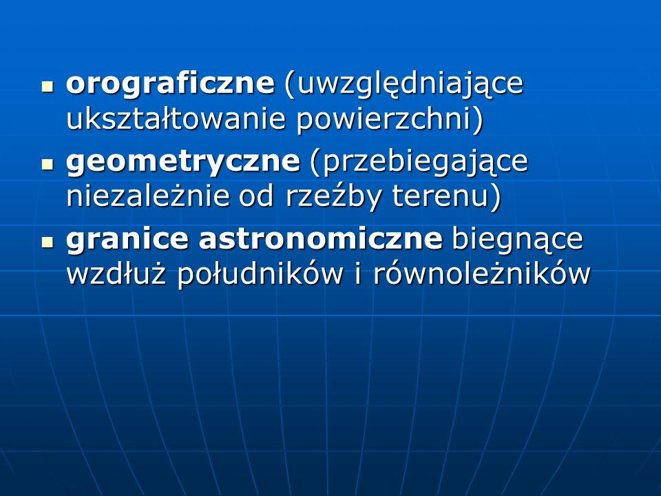 orograficzne (uwzględniające ukształtowanie powierzchni)