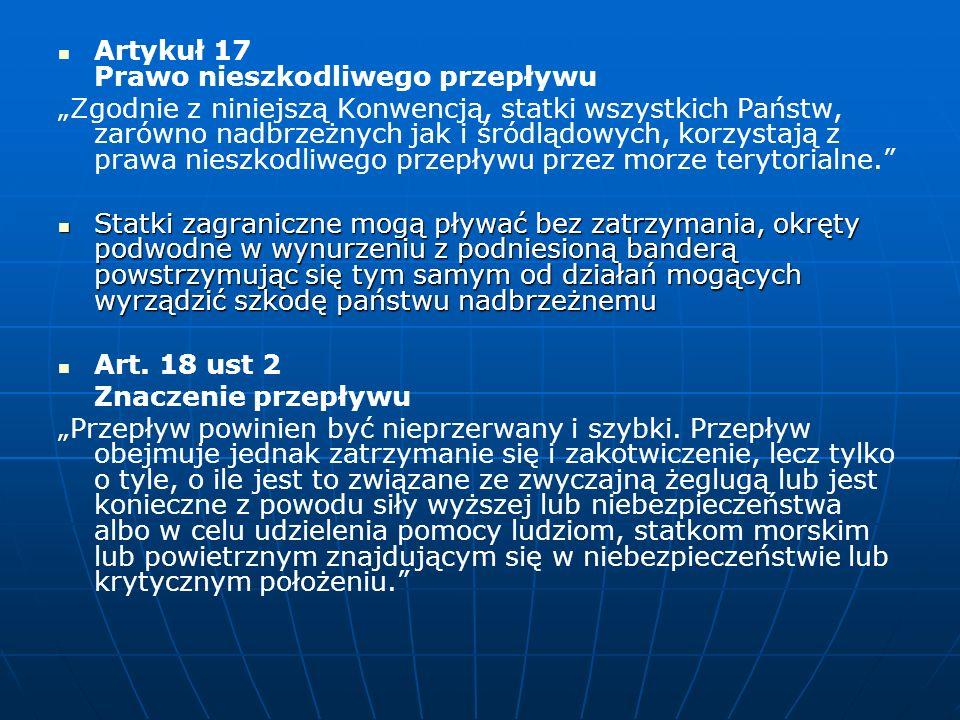 Artykuł 17 Prawo nieszkodliwego przepływu
