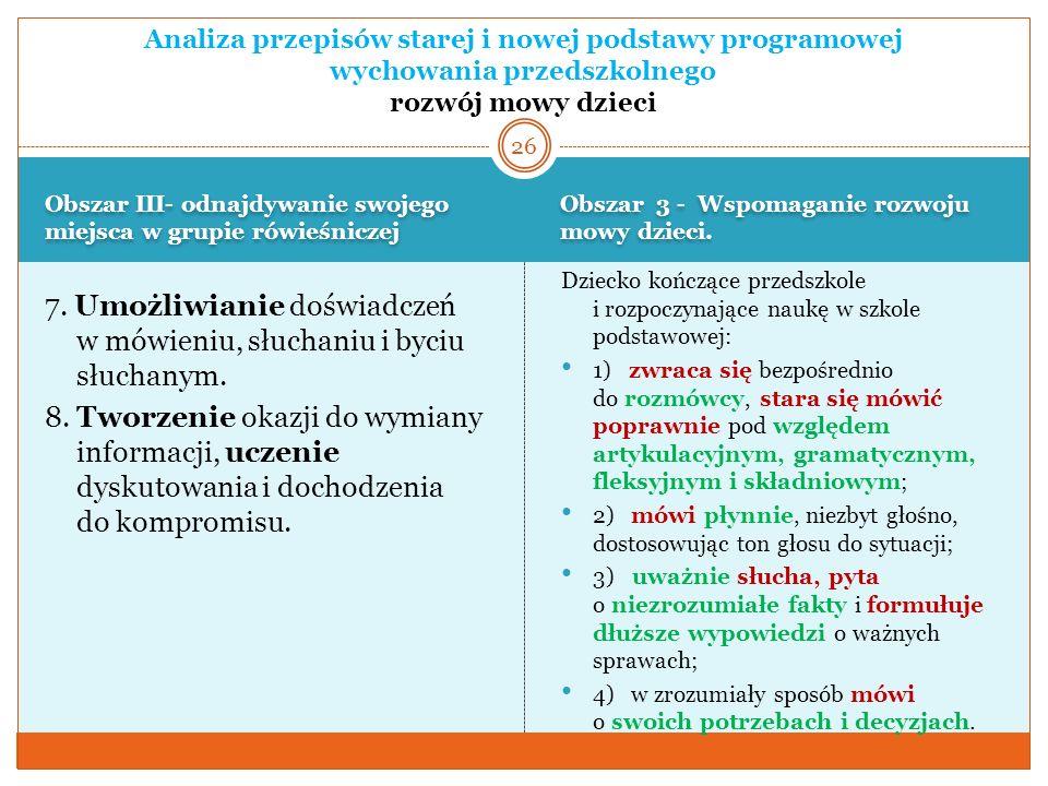 Analiza przepisów starej i nowej podstawy programowej wychowania przedszkolnego rozwój mowy dzieci