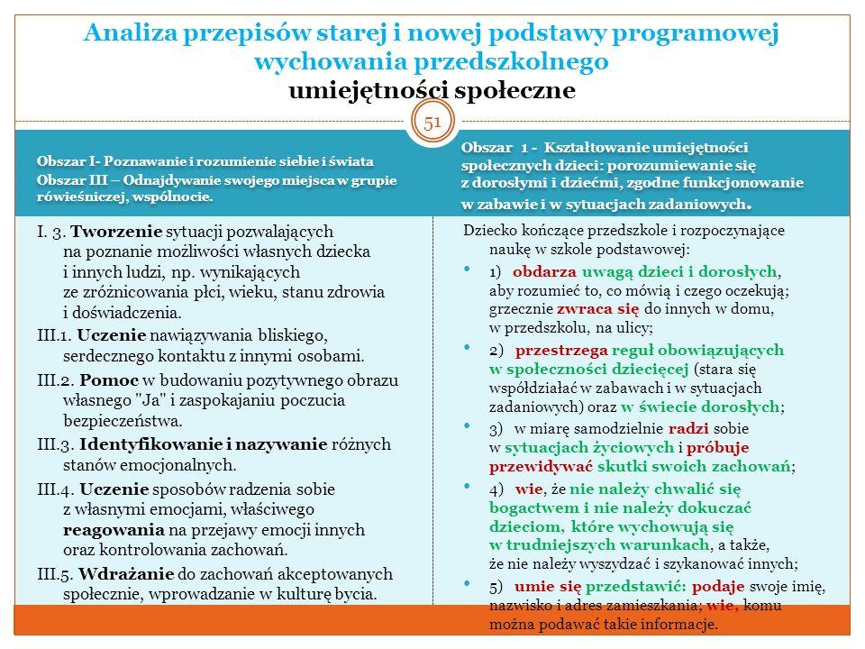 Analiza przepisów starej i nowej podstawy programowej wychowania przedszkolnego umiejętności społeczne