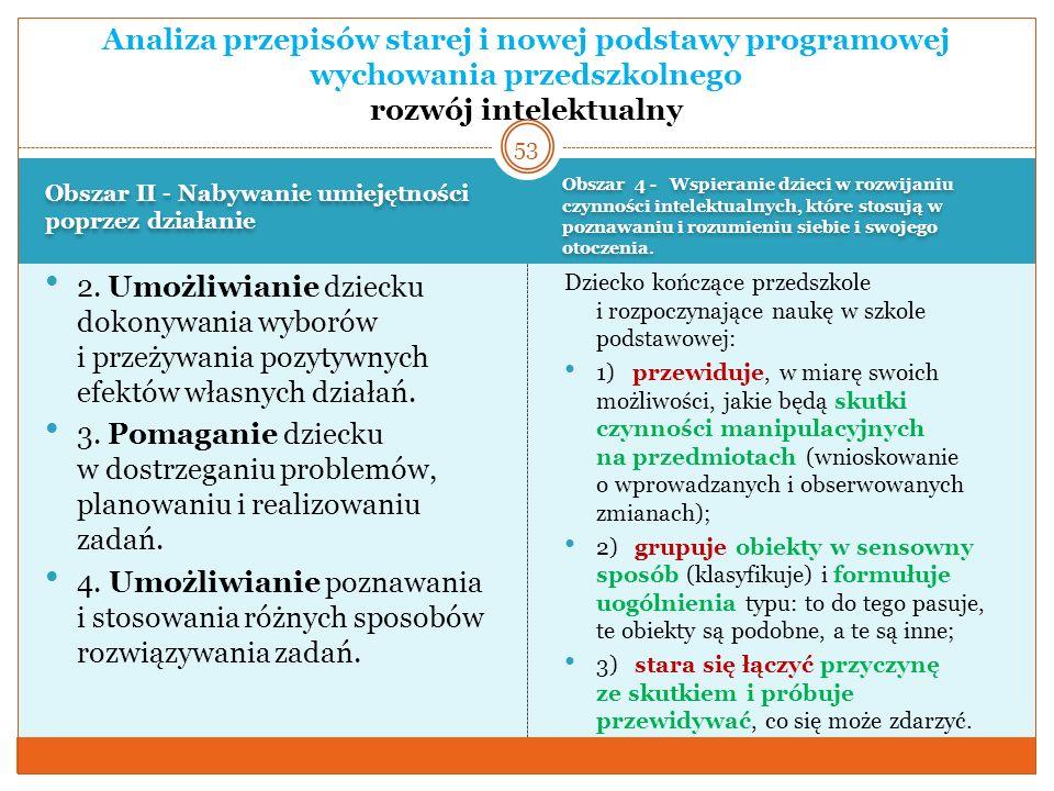 Analiza przepisów starej i nowej podstawy programowej wychowania przedszkolnego rozwój intelektualny