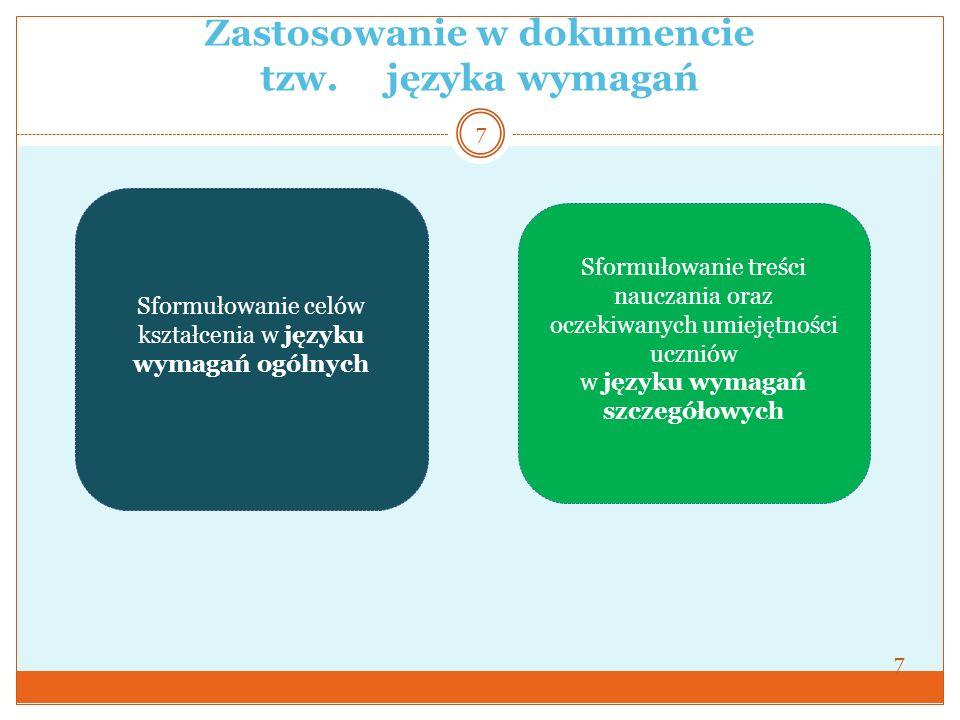 Zastosowanie w dokumencie tzw. języka wymagań
