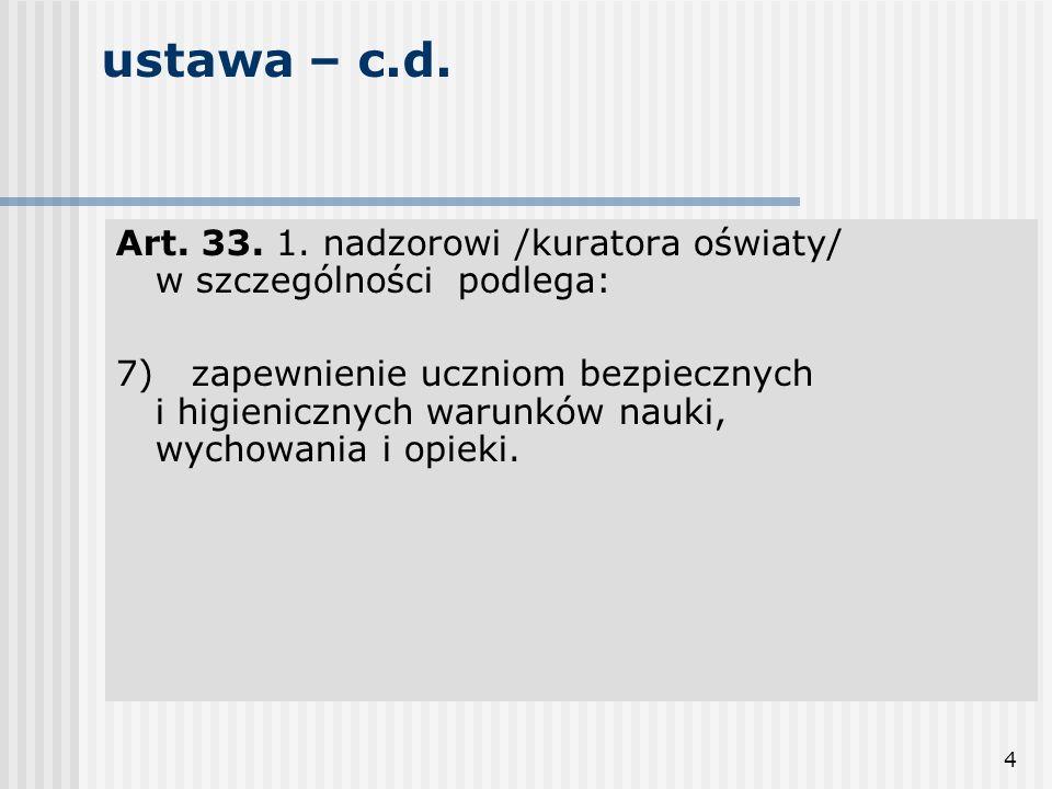 ustawa – c.d. Art. 33. 1. nadzorowi /kuratora oświaty/ w szczególności podlega: