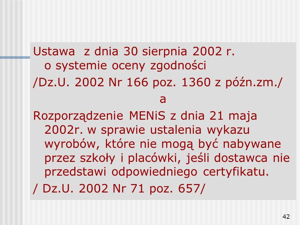 Ustawa z dnia 30 sierpnia 2002 r. o systemie oceny zgodności