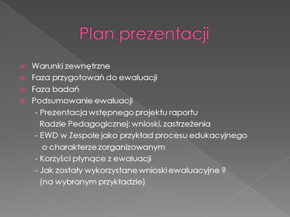 Plan prezentacji Warunki zewnętrzne Faza przygotowań do ewaluacji