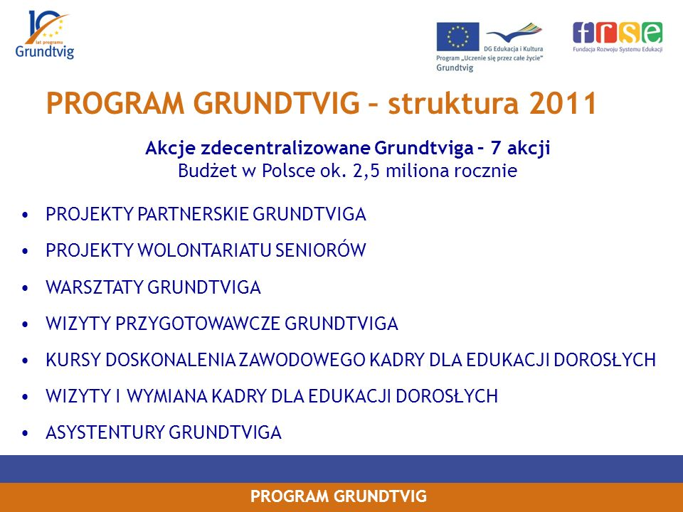 PROGRAM GRUNDTVIG – struktura 2011