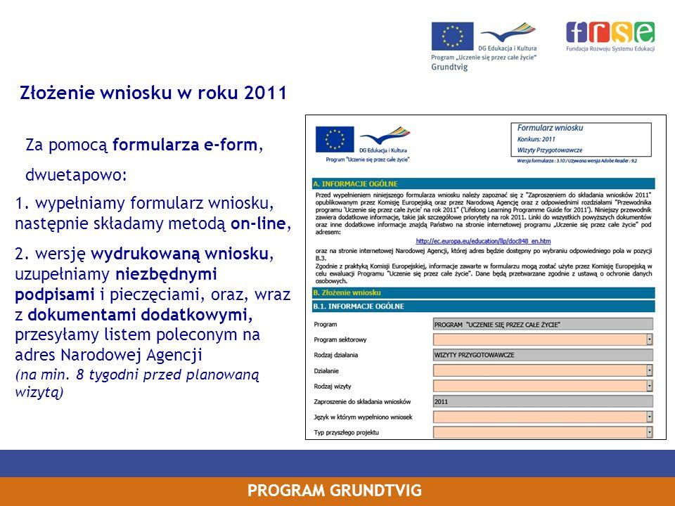 Złożenie wniosku w roku 2011