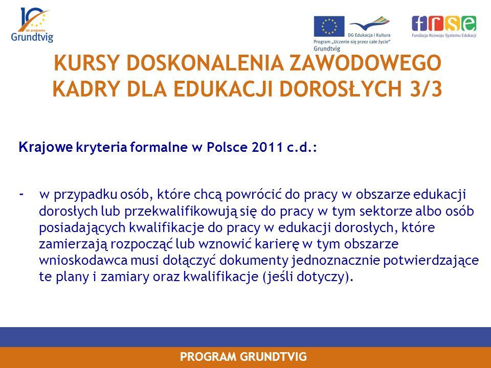 KURSY DOSKONALENIA ZAWODOWEGO KADRY DLA EDUKACJI DOROSŁYCH 3/3
