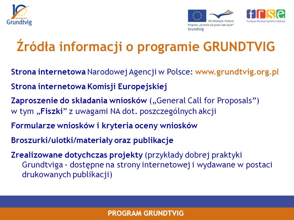 Źródła informacji o programie GRUNDTVIG