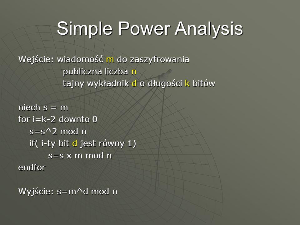 Simple Power Analysis Wejście: wiadomość m do zaszyfrowania