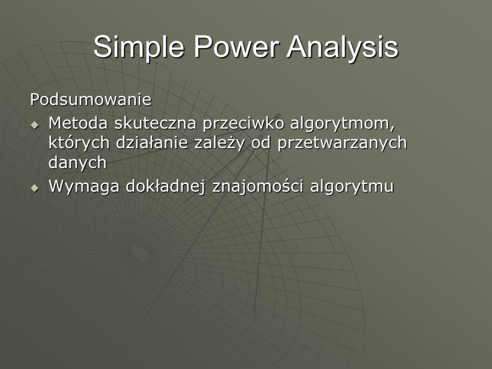 Simple Power Analysis Podsumowanie