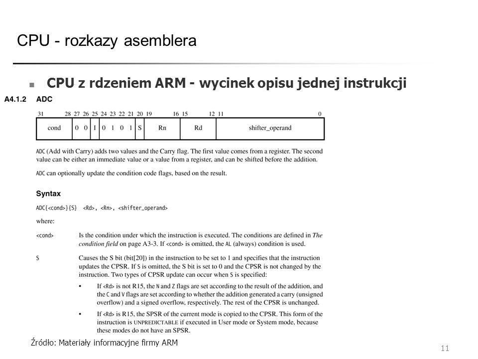 Źródło: Materiały informacyjne firmy ARM