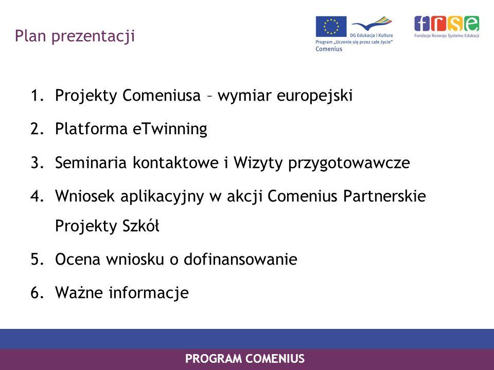 Plan prezentacji Projekty Comeniusa – wymiar europejski. Platforma eTwinning. Seminaria kontaktowe i Wizyty przygotowawcze.