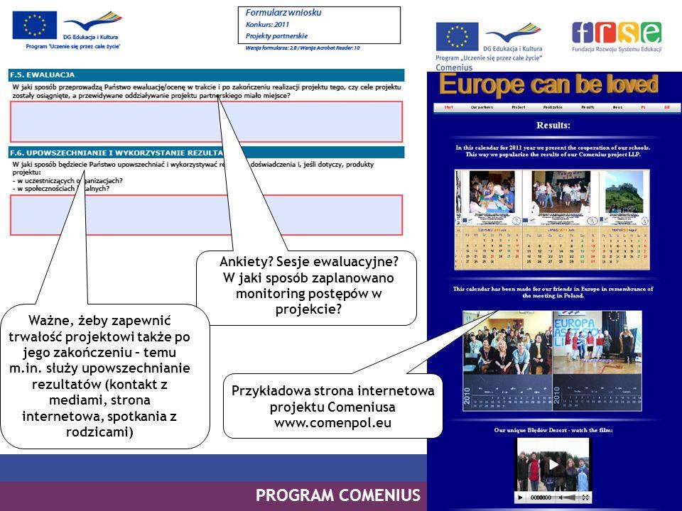 Przykładowa strona internetowa projektu Comeniusa www.comenpol.eu