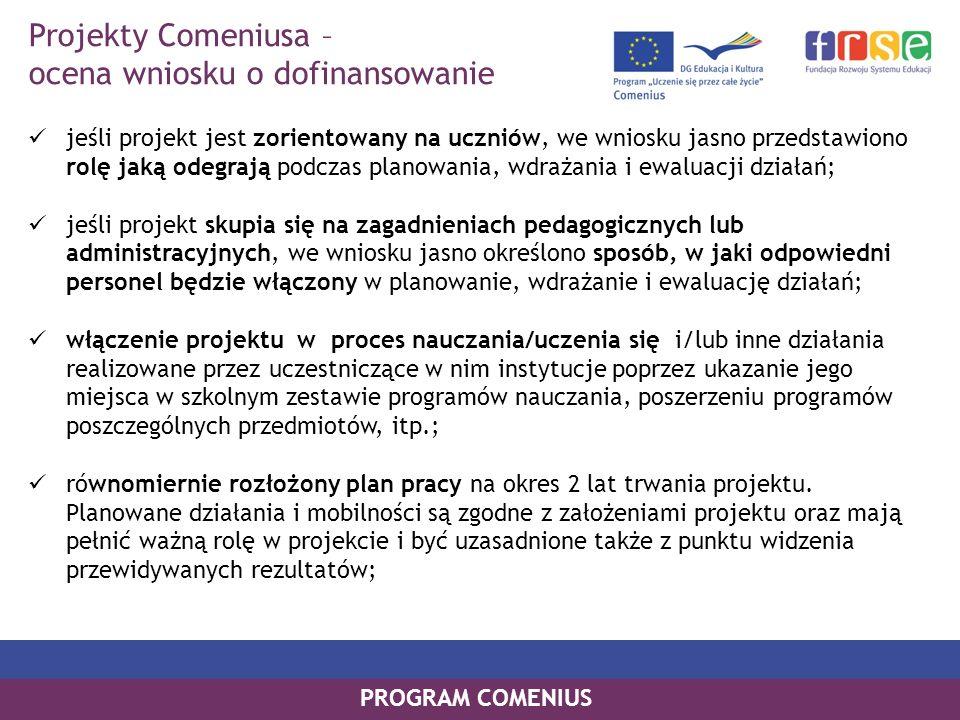 Projekty Comeniusa – ocena wniosku o dofinansowanie
