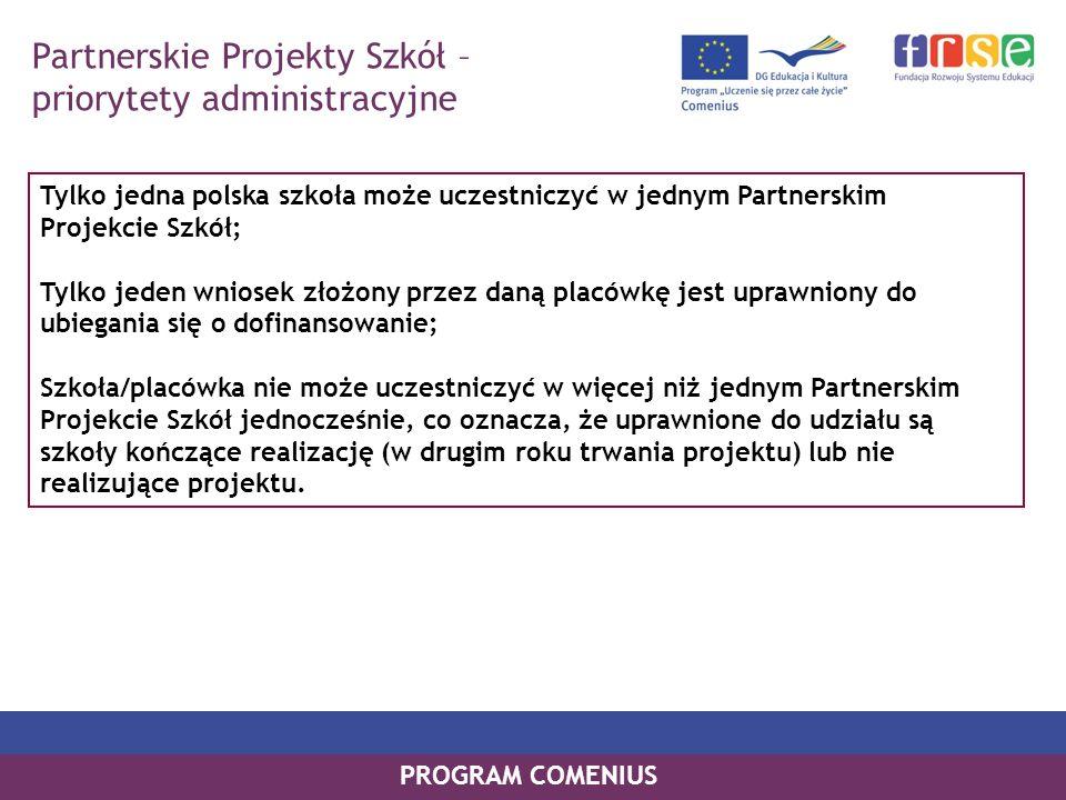 Partnerskie Projekty Szkół – priorytety administracyjne