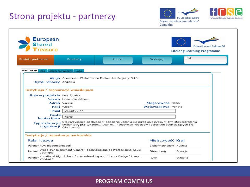Strona projektu - partnerzy