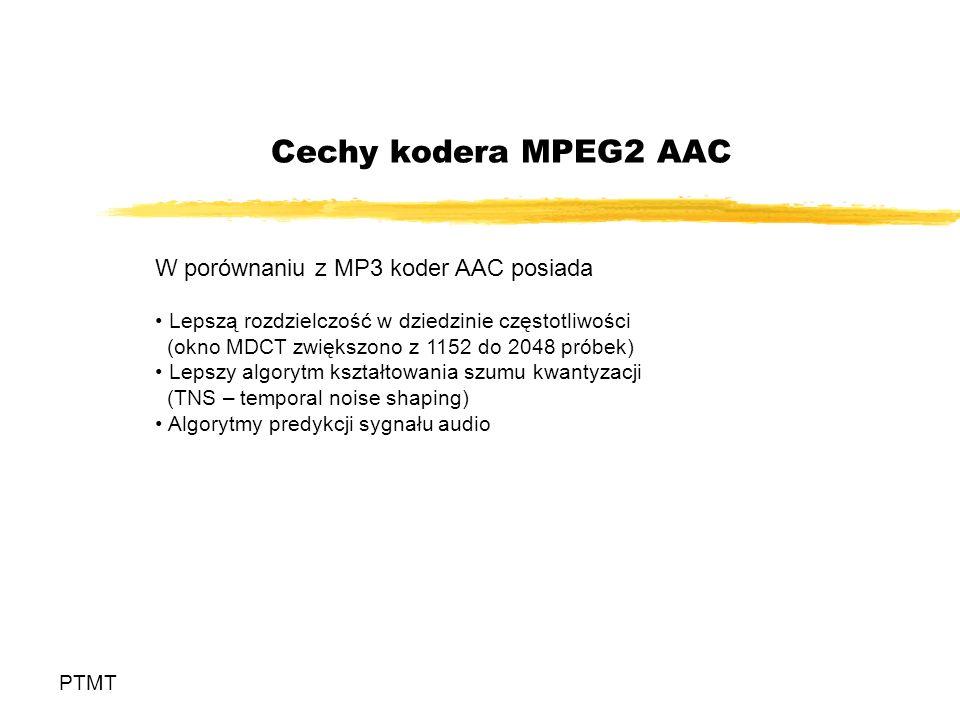 Cechy kodera MPEG2 AAC W porównaniu z MP3 koder AAC posiada