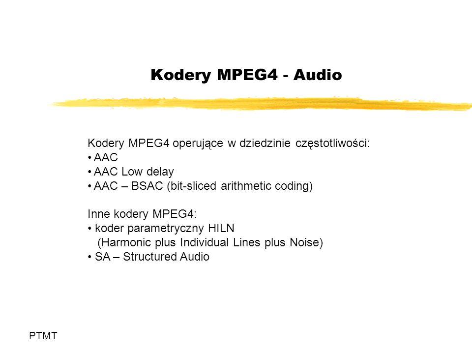 Kodery MPEG4 - Audio Kodery MPEG4 operujące w dziedzinie częstotliwości: AAC. AAC Low delay. AAC – BSAC (bit-sliced arithmetic coding)