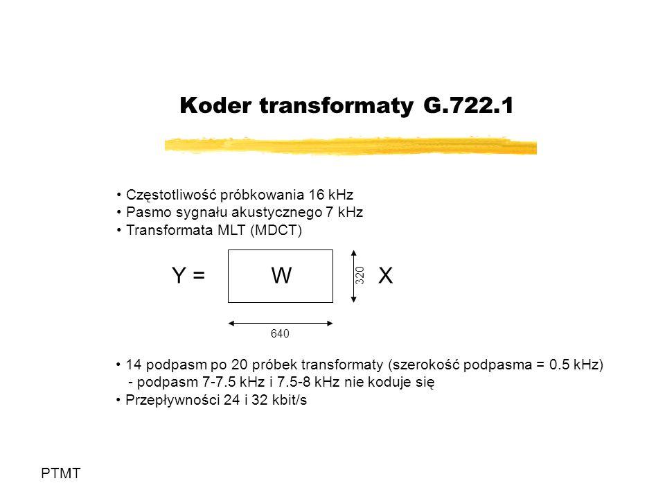 Koder transformaty G.722.1 Y = W X Częstotliwość próbkowania 16 kHz
