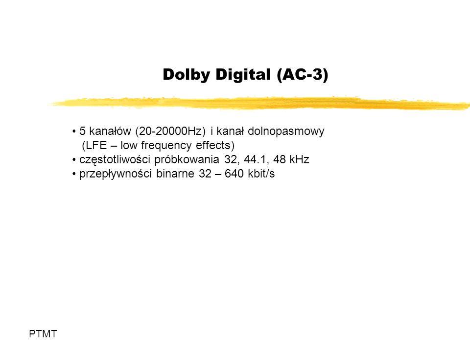 Dolby Digital (AC-3) 5 kanałów (20-20000Hz) i kanał dolnopasmowy