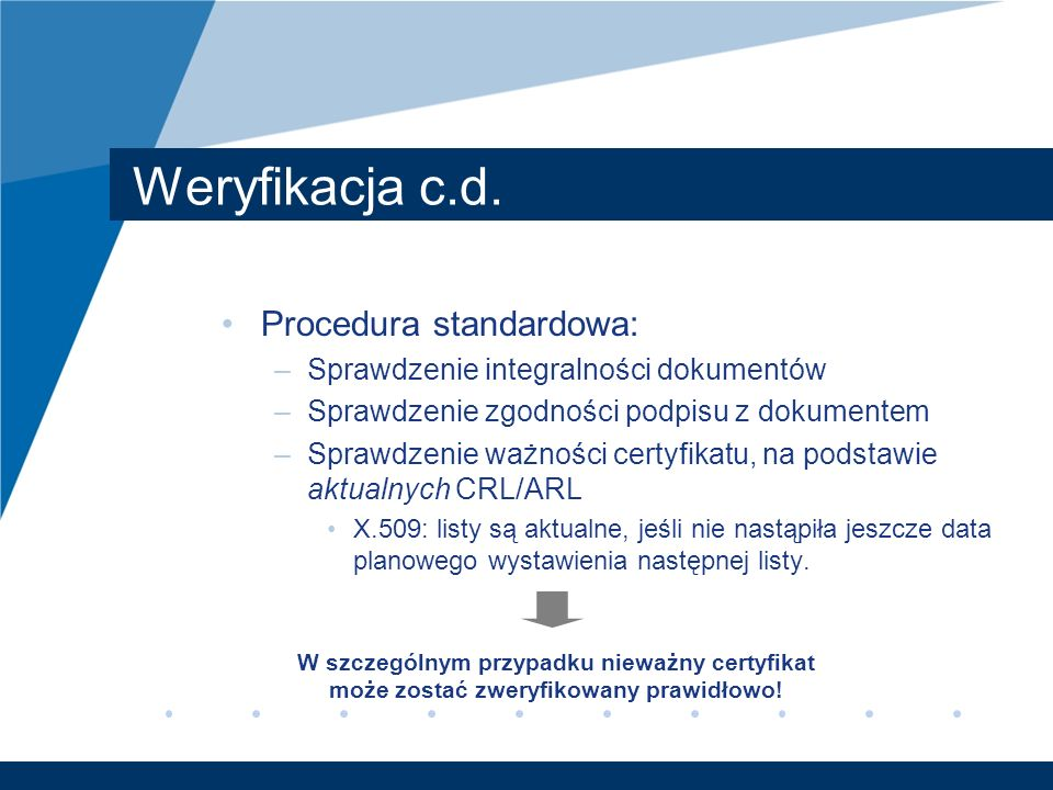Weryfikacja c.d. Procedura standardowa: