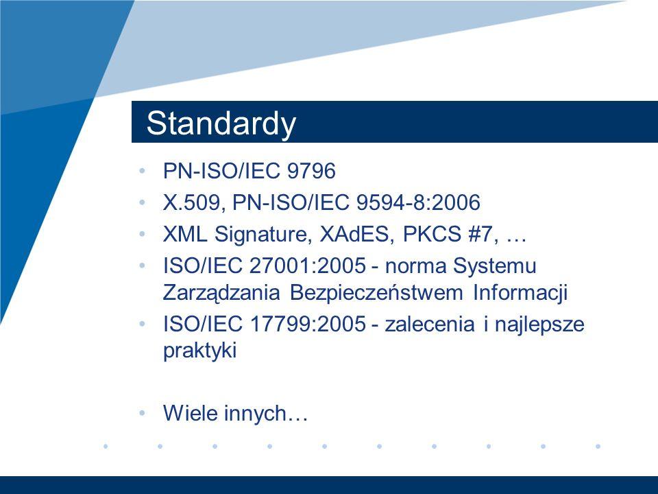 Standardy PN-ISO/IEC 9796 X.509, PN-ISO/IEC 9594-8:2006