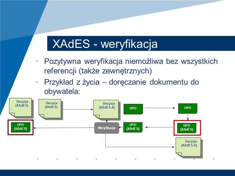 XAdES - weryfikacja Pozytywna weryfikacja niemożliwa bez wszystkich referencji (także zewnętrznych)