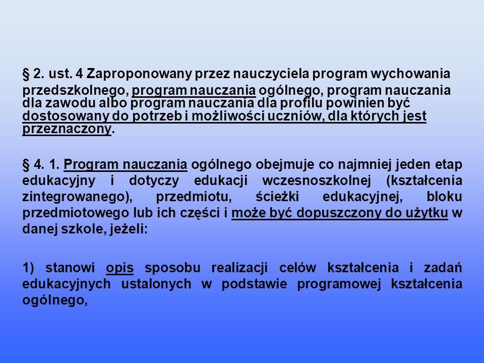 § 2. ust. 4 Zaproponowany przez nauczyciela program wychowania