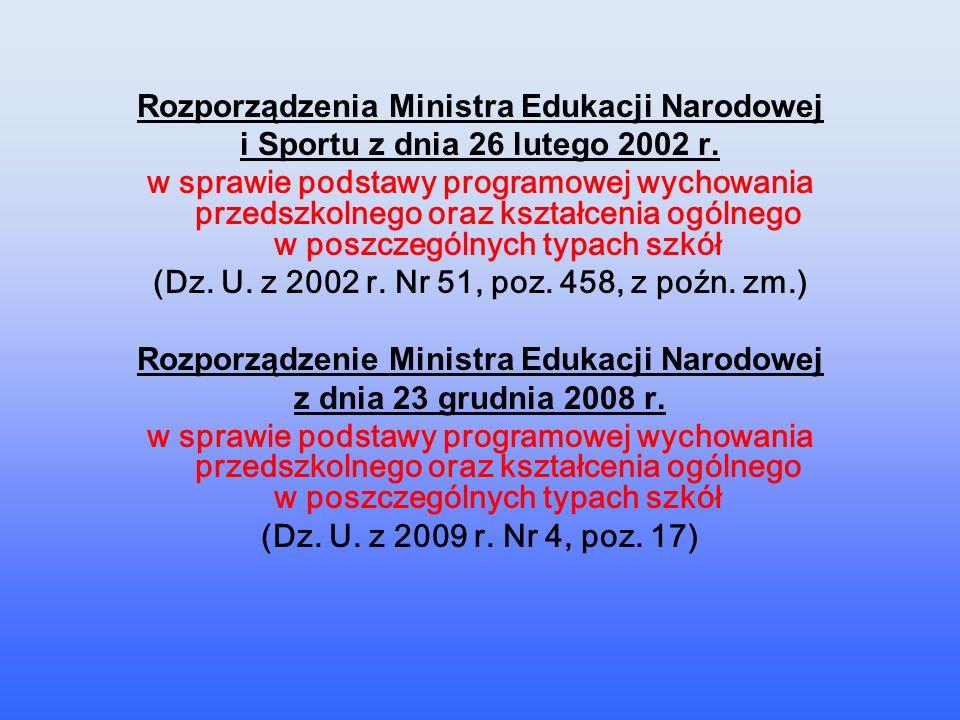 Rozporządzenia Ministra Edukacji Narodowej