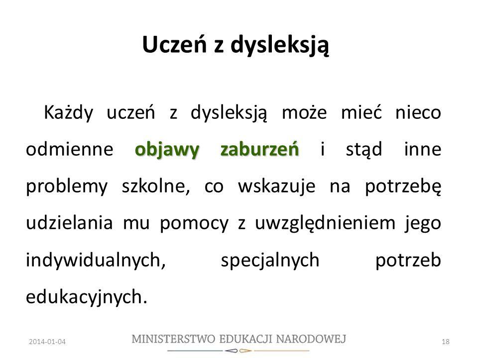Uczeń z dysleksją