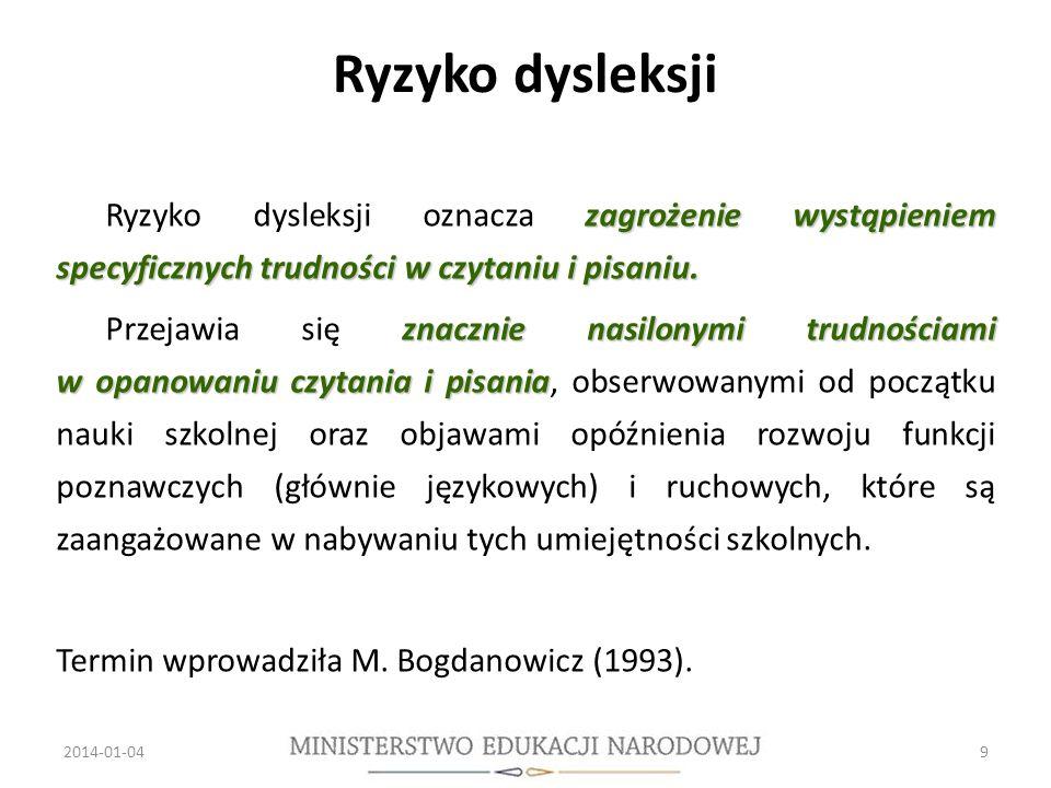 Ryzyko dysleksji Ryzyko dysleksji oznacza zagrożenie wystąpieniem specyficznych trudności w czytaniu i pisaniu.