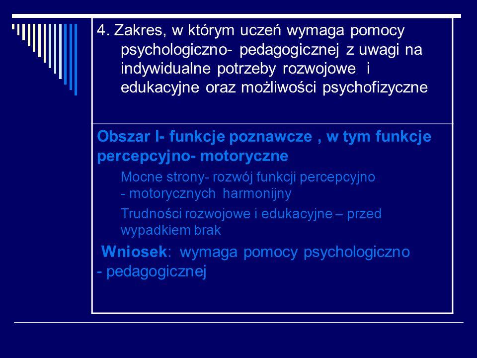 Obszar I- funkcje poznawcze , w tym funkcje percepcyjno- motoryczne