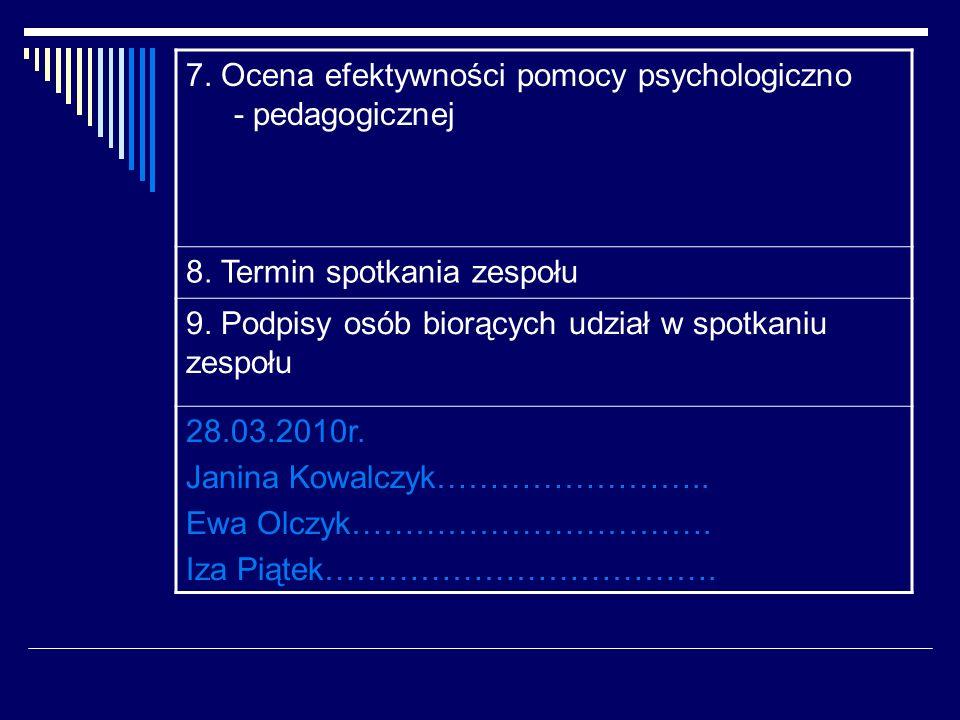 7. Ocena efektywności pomocy psychologiczno - pedagogicznej