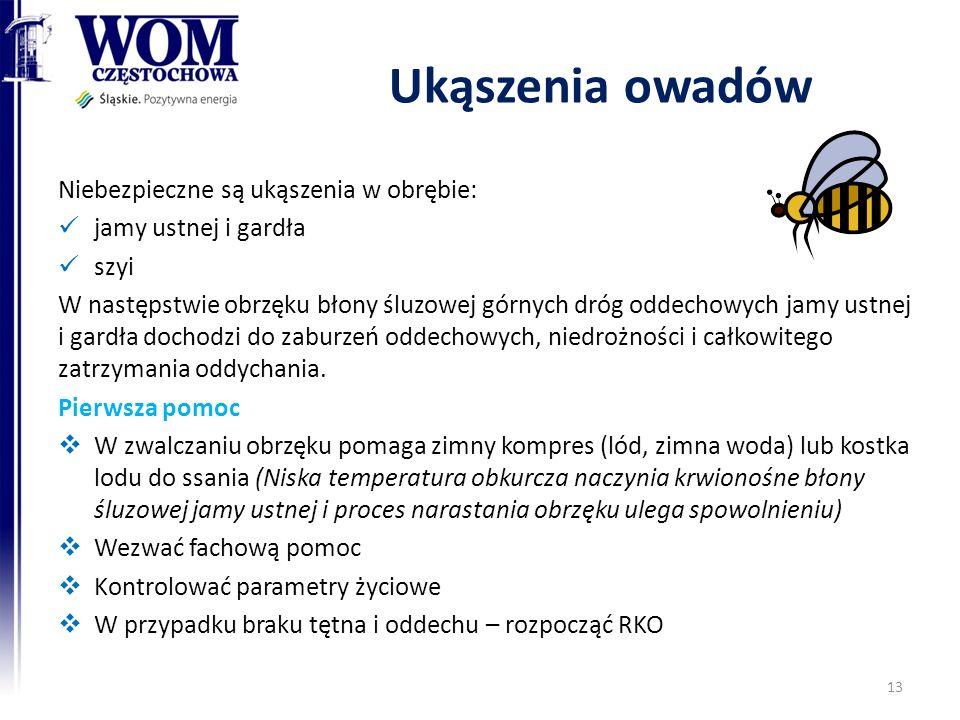 Ukąszenia owadów Niebezpieczne są ukąszenia w obrębie: