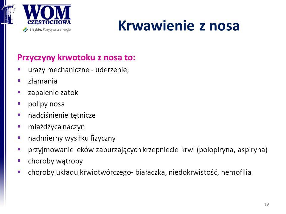 Krwawienie z nosa Przyczyny krwotoku z nosa to: