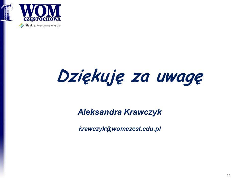 Dziękuję za uwagę Aleksandra Krawczyk krawczyk@womczest.edu.pl