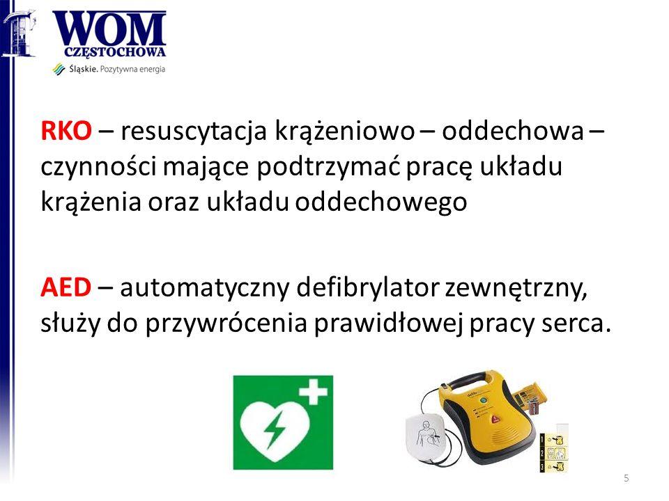 RKO – resuscytacja krążeniowo – oddechowa – czynności mające podtrzymać pracę układu krążenia oraz układu oddechowego AED – automatyczny defibrylator zewnętrzny, służy do przywrócenia prawidłowej pracy serca.