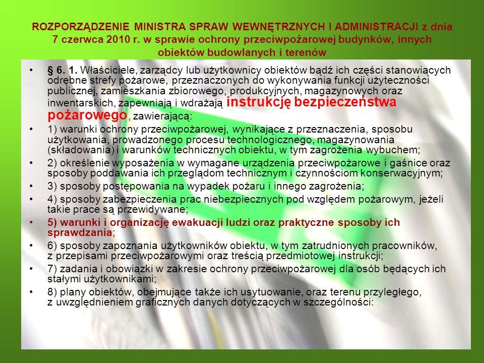 ROZPORZĄDZENIE MINISTRA SPRAW WEWNĘTRZNYCH I ADMINISTRACJI z dnia 7 czerwca 2010 r. w sprawie ochrony przeciwpożarowej budynków, innych obiektów budowlanych i terenów