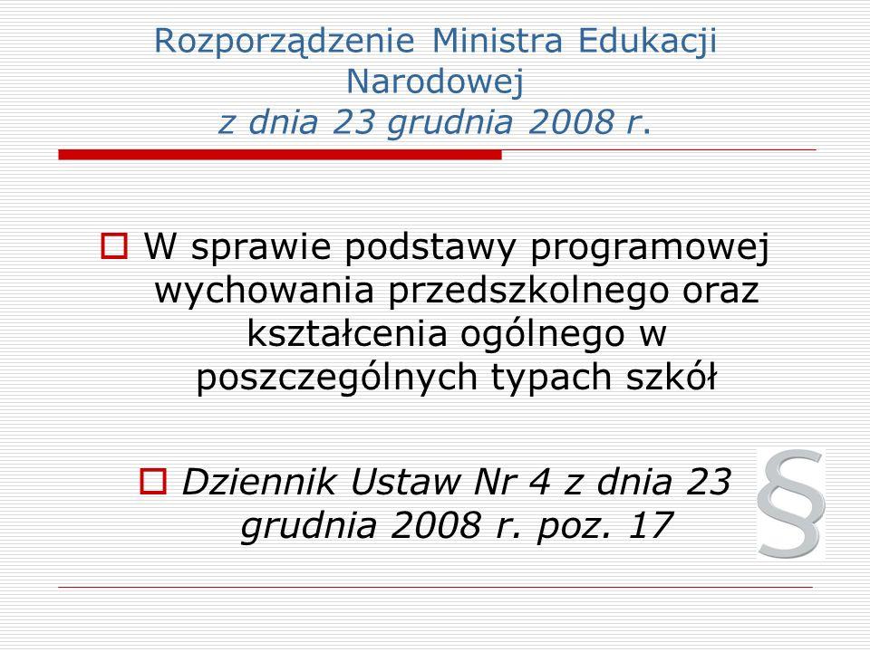Rozporządzenie Ministra Edukacji Narodowej z dnia 23 grudnia 2008 r.