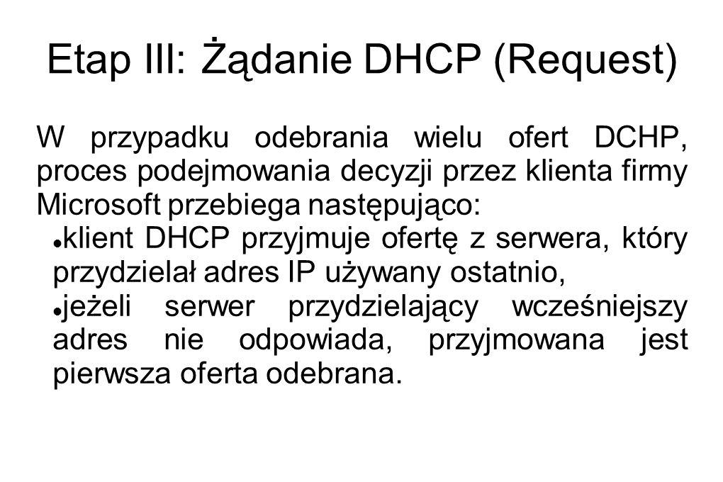 Etap III: Żądanie DHCP (Request)